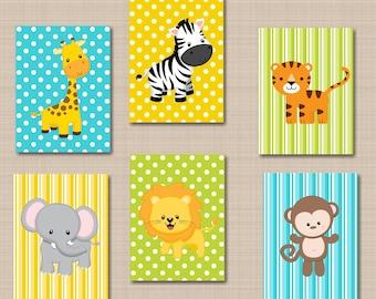 Jungle Animals Nursery Wall Art Safari Nursery Wall Art Zoo Animals Nursery Wall Art,Safari Nursery Decor,Animals Wall Art Decor-UNFRAMED503