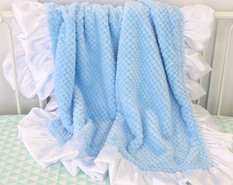 Baby Blue with White Satin Trim Minky Baby Boy Blanket | Baby Blue, Blue, White, Satin, Plush Minky Baby Blanket | Baby Stroller Accessery