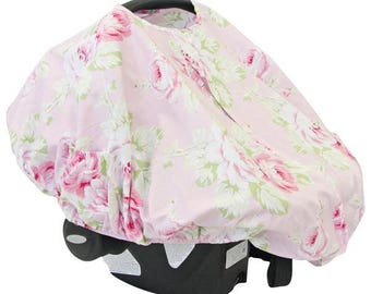 Shabby Chic Roses | Pink Floral Car Seat Canopy Cover