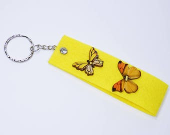 Key ring yellow butterflies and rhinestone pendant Keyring - bags - trailer for the keychain, butterfly