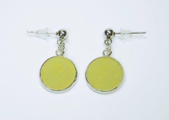 Earrings Green concrete on silver studs concrete jewelry pair of earrings concrete jewelry green silver pendant earrings
