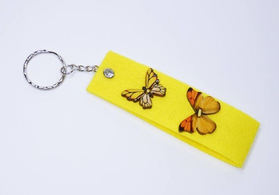Key ring yellow with butterflies and rhinestone pendant keyring keychain for keychain, butterfly