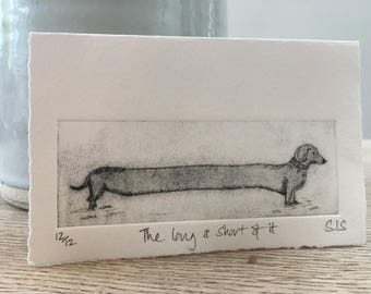 Hand Printed Sausage Dog Card, Handmade Card, Sausage Dog, Daschund, Individual limited edition printed card, Single Dachshund card
