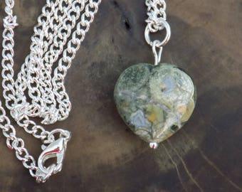 Rhyolite Necklace, Rhyolite Gemstone, Healing Crystals, Metaphysical, Rhyolite Heart, Rainforest Jasper, Jasper Heart, Wiccan Jewelry.