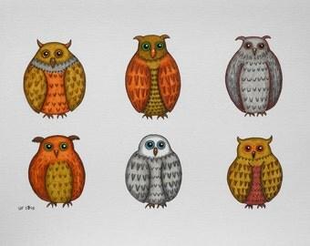 "Original ""Owls"" - original inkpen drawing owl lovers different owls"