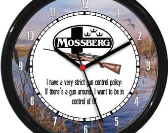 Mossberg Rifle  Hunter Gun Shot Sales Shop Dealer Sign Wall Clock Man Cave Rec Room NRA Ducks Unlimited Shooting Range