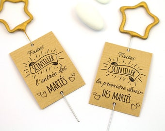10 labels for sparklers, Kraft, to flicker the entry of bride and groom