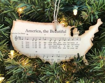 Patriotic Christmas Ornament, Sheet Music Ornaments, Military Ornament, Patriotic Ornament, Holiday Hostess Gift, America The Beautiful