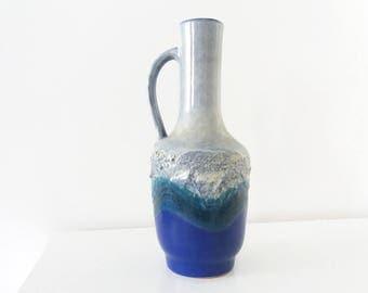 Strehla 982 fat lava vase in blue and grey | East German pottery GDR