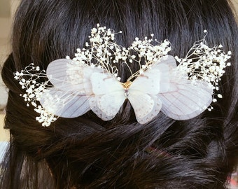 White butterfly wedding party evening Butterfly hair comb