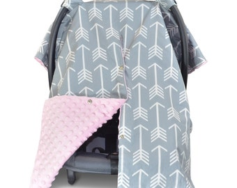 Carseat Canopy | Nursing Cover | Car Seat Canopy w/ Peekaboo Opening™- Arrow Pattern w/ Baby Pink Dot Minky for Girls | Breastfeeding Cover