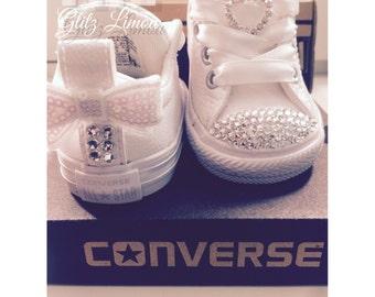 Converse baby girl infant toddler swarovski crystal sneakers white pink bow flower girl first birthday authentic rhinestone glitz batism