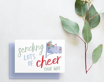 sending lots of cheer your way holiday greeting card // hand painted watercolor card // hand lettering // printed