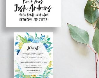 watercolor bridal shower invitations // floral party invitations // watercolor flowers // blue green yellow watercolor // printable custom