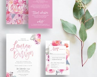 floral wedding invitations // pink watercolor wedding invites // brush lettering // pink floral // hand painted // printable // custom