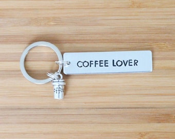 hand stamped keychain | coffee lover