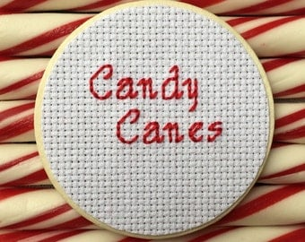 Candy Cane Mason Jar, Mason Jar Decor, Christmas Decor, Christmas Gift, Holiday Decor, Cross Stitch, Mason Jar Lid