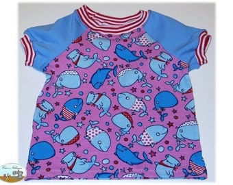 Children Baby T-Shirt shirt Jersey cotton size 62-68 whales fish in the sea Pink Blue Star Strip