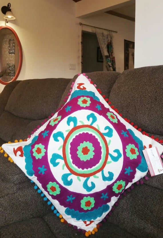 Purple Bohemian Decoration, cushion covers, boho cushions cover, ethnic pillow, christmas gift, hippie boho cushion, suzani cushion cover