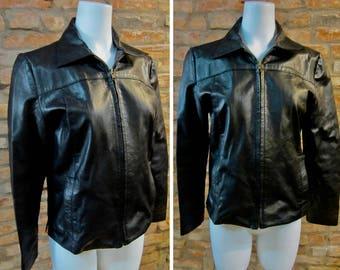 Vintage Leather Jacket • Small Medium Black Leather Jacket • Women's Leather Moto Jacket • Zippered Leather Coat • Light Argentinian Jacket