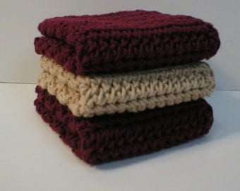 Handmade Crochet Cotton Dishcloths Washcloths, Set of 3: 2 Burgundy, 1 Beige (Dishcloths6344)