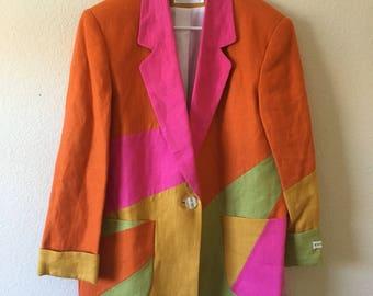 NEW International Scene 100% Linen Shoulder Pads Lined Blazer Jacket Sz 11 12