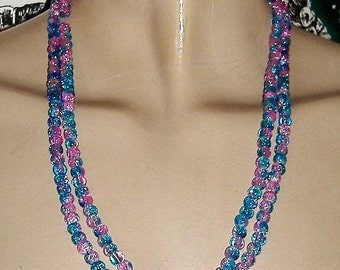 UNUSUAL PINK AND blue sparkly glass bead necklace
