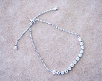 925 Sterling Silver - Dainty Bolo Flower Bracelet (S290)