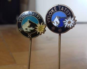 Set of 2 Vintage Pin Badges - Vysoke Tatry / High Tatras- Slovakian Mountains