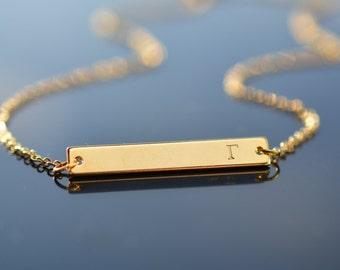 Custom Greek Letter Bar Necklace, Hand stamped Greek letters, Sorority gold bar necklace, Customizable necklace, Name Bar Necklace, Gift
