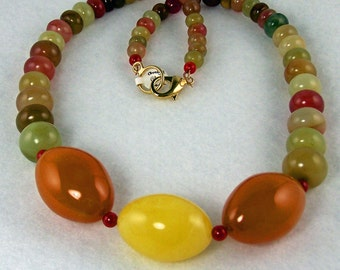 Amber Eggs and Chinese Jade Beaded Necklace and Earring Set