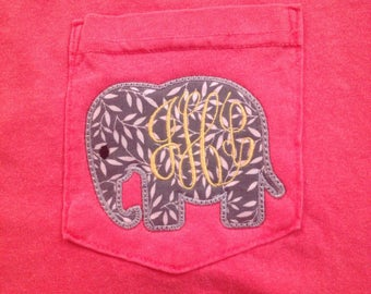 Comfort Colors long sleeve/short sleeve pocket t-shirt/ pocket tee with  embroidered Elephant outline and monogramed Initials