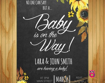 Baby Shower Flower Invitation - Chalkboard - Spring - Flowers - Baby Girl - Baby Boy - Baby Shower Printable Invite - Digital File