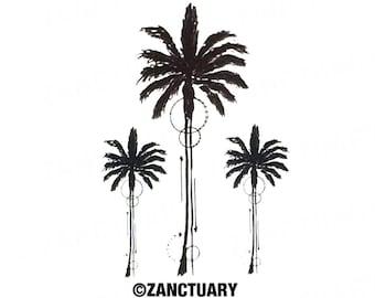 Palm tree tattoo etsy for Palmetto tree and moon tattoo
