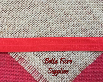 Red Fold Over Elastic- Red FOE- Wholesale- DIY Headband- Elastic by the Yard