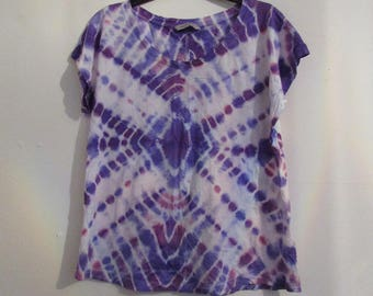 Violet and Magenta Upcycled Tie Dye T-Shirt