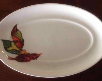 "Vintage Santa Anita Ware ""Flowers of Hawaii"" Croton Leaves Oval Bread Plate -  Made in USA - 1949"
