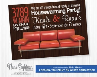 Housewarming Party INVITATION with red retro couch. Personalized PDF. I design, you print.