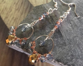 Petite hoop earring with slate & gold colored crystals