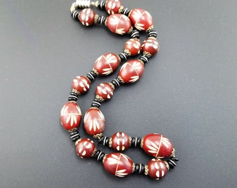 Gorgeous Art Deco Cherry, Black & Ivory Beaded Galalith Necklace - Vintage