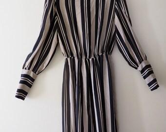Vintage 70s Striped Dress S/M