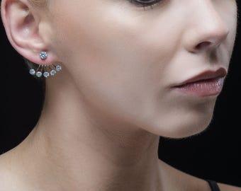 Sweet silver cubic zirconia ear jacket