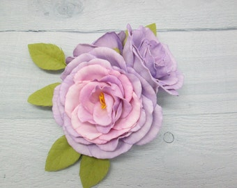 Hair flower Rose wedding Flower hair clips Bridesmaids gifts Bridal hair clip Purple hair flower Flower heads Rose hair clip Bridal hair