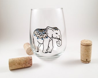Hand Painted Elephant Wine Glass