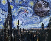 """STAR WARS Van Gogh """"A Starry Wars Night"""" Art Print - Painting, Home Decor, Solo, Gift for Her, Gift for Home, Wall Art, Gift for Him"""