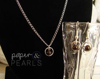 Swarovski Pearl Bridesmaid Necklace Earring Gift Set in Deep Brown