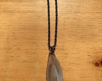 Wire wrapped Agate slice Necklace