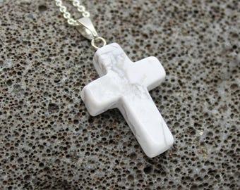 White Cross Necklace, Crucifixion, Jesus Christ, Easter, First Communion, Stone Cross, Baptism, , Cross Pendant