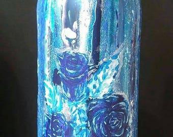 Blue Rose and Sparkle Bottle Vase