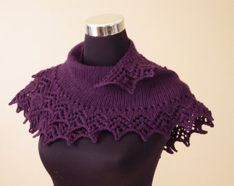 Purple Woollen Hand Knitted Shawl, Shoulders Warmer, Women Shawlette, Scarf and Wraps, Gift for her
